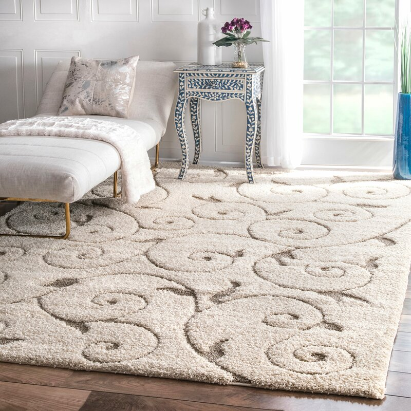Charlton Home Pipers Ivory Vine Swirls Area Rug Amp Reviews