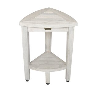Oasis Coastal Vogue Compact Teak Corner Shower Bench With Shelf