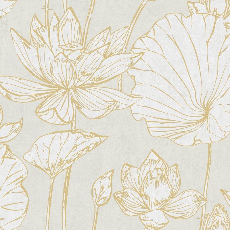 House Of Hampton Artie Lotus Floral 27 X 27 Metallicfoiled
