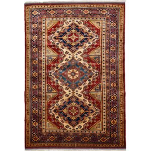 One-of-a-Kind Shirvan Hand-Knotted Light Beige / Red Area Rug
