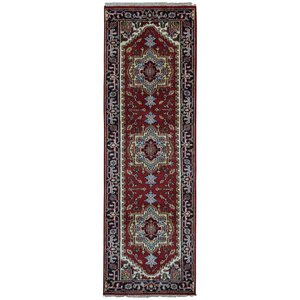 Roselle Traditional Hand Woven Wool Red/Navy Area Rug
