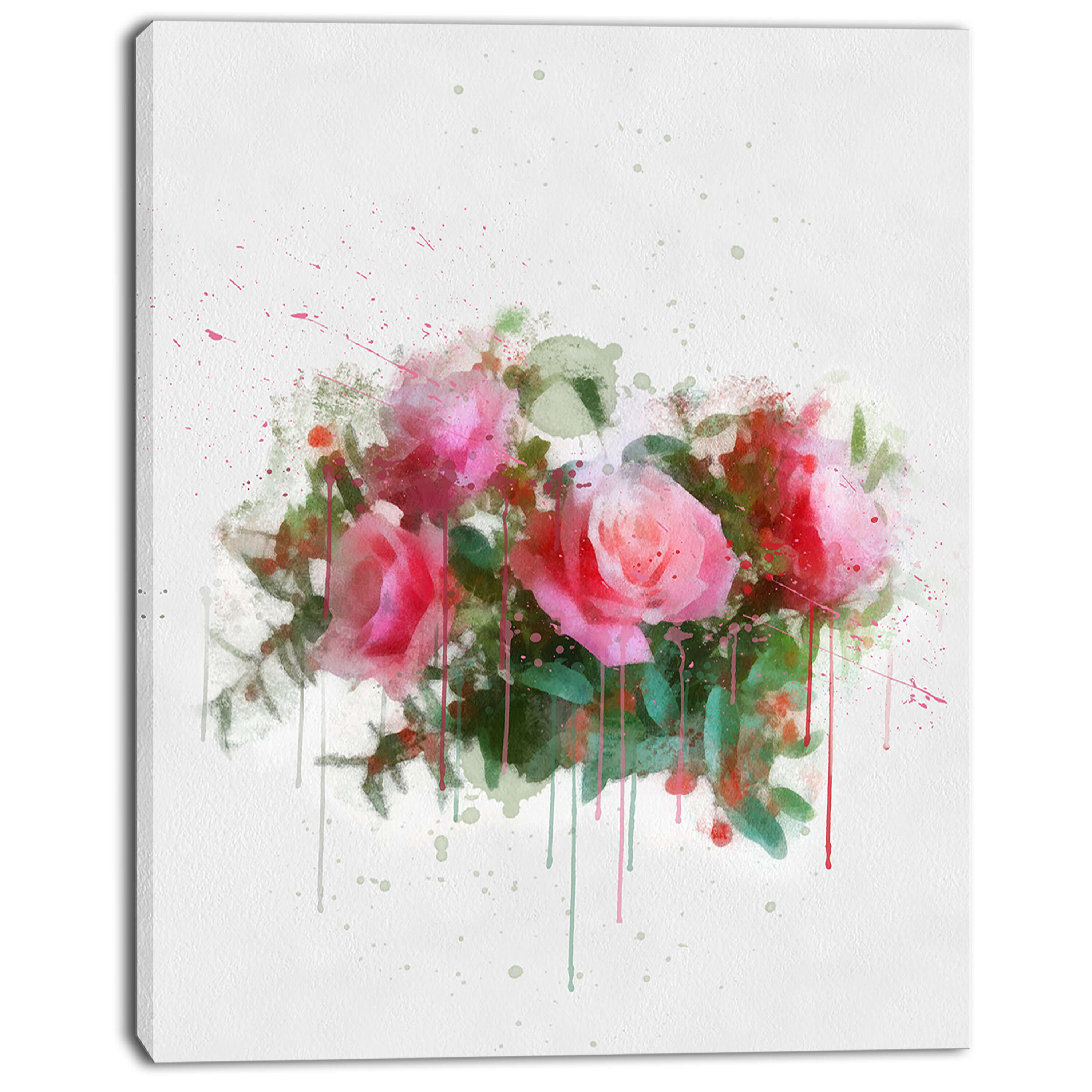 Designart Bunch Of Pink Roses Watercolor Painting Print On Wrapped