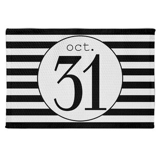 Kiki October 31st Stripes Black/White Area Rug By The Holiday Aisle