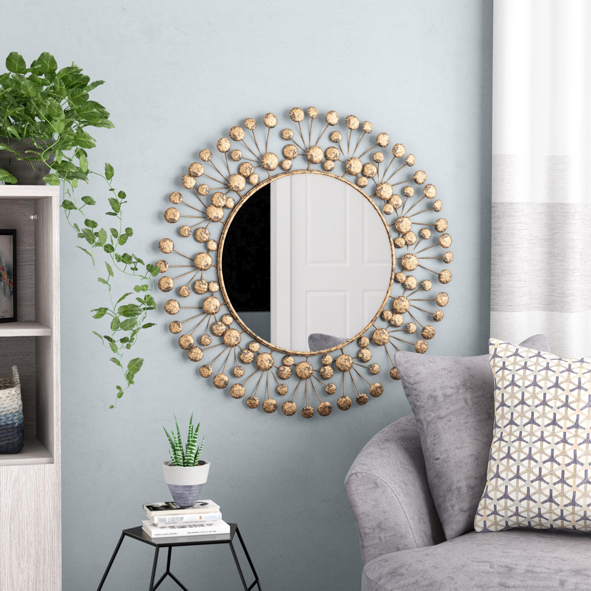 Brayden Studio Eisenbarth Oversized Decorative Round Wall Mirror ...