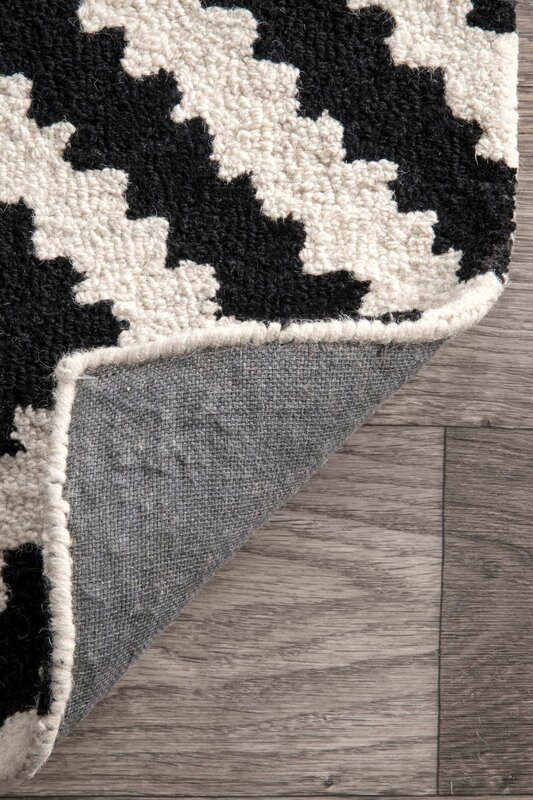 Mercury Row Obadiah Hand Tufted Wool Black Area Rug