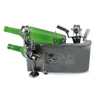 Fulkerson Happy Couple at the Bar Having Drinks Metal 2 Bottle Tabletop Wine Bottle Holder