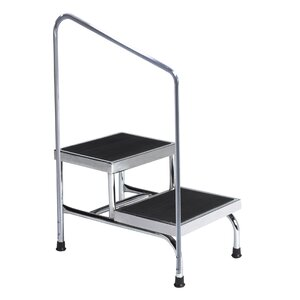 2-Step Steel Step Stool with 600 lb. Load Capacity