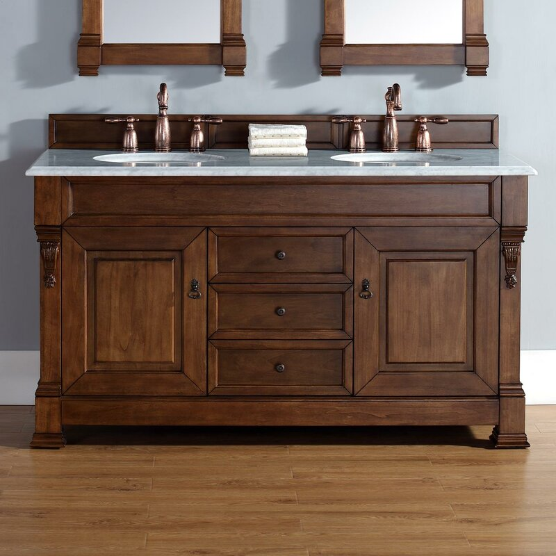 Darby Home Co Bedrock 60 Quot Double Country Oak Bathroom