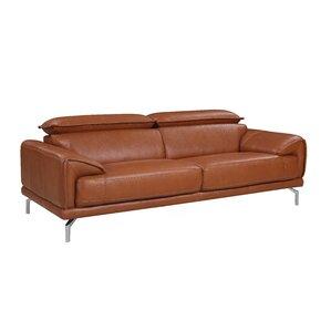 tawny mid century modern top grain leather sofa