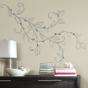 Wall decals youll love wayfair deco silver leaf giant with pearls peel and stick wall decal gumiabroncs Gallery