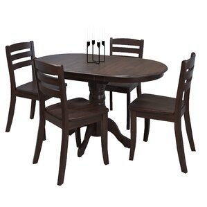 Liggett 5 Piece Solid Wood Dining Set by Three Posts