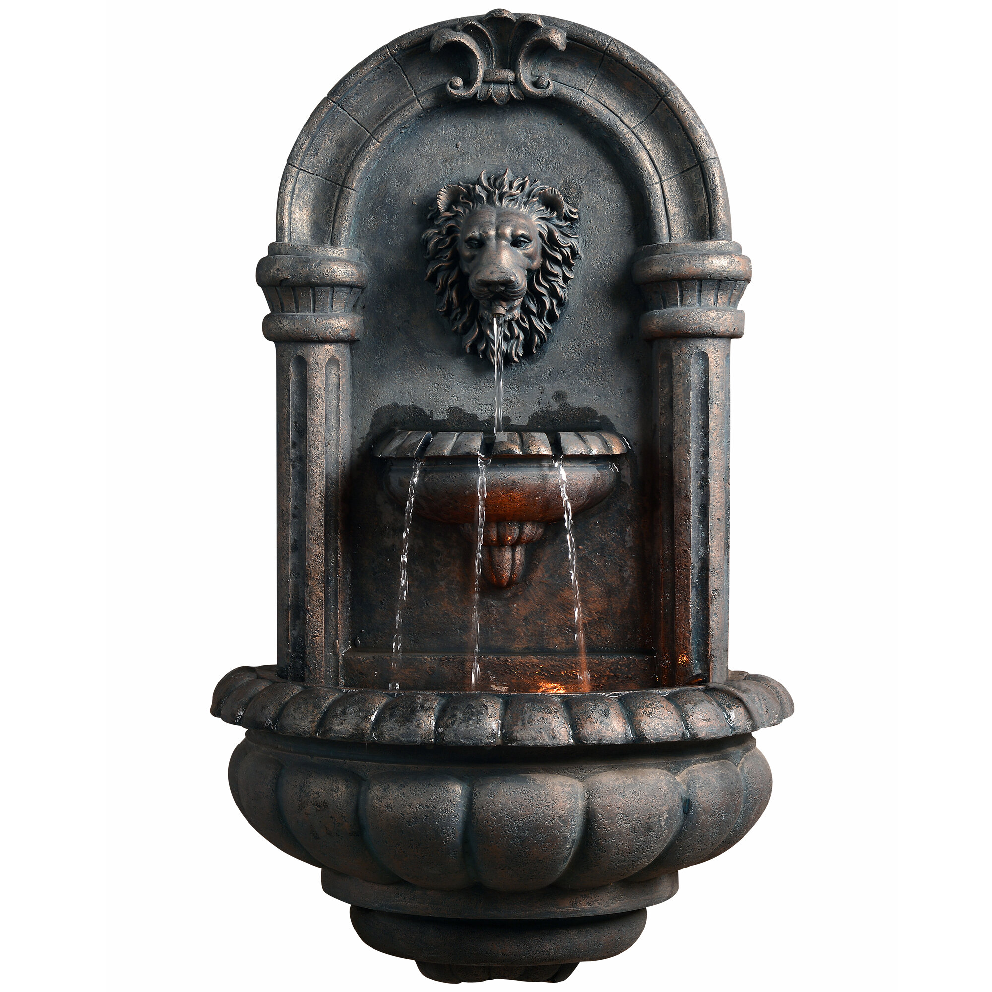 Peaktop Resin Outdoor Royal Lion Head Wallfall Fountain With Light U0026  Reviews | Wayfair