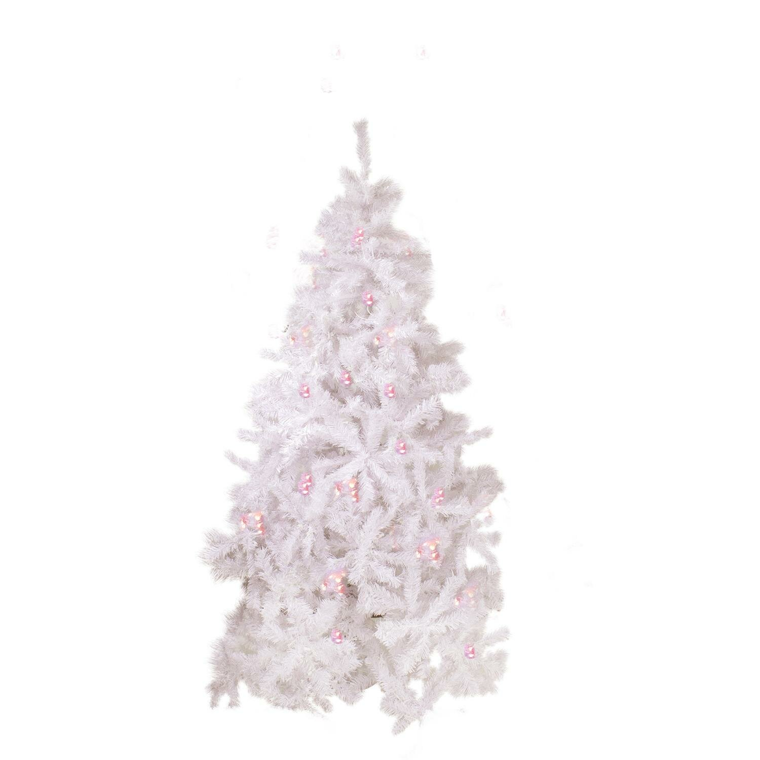 Northlight 7 5 White Cedar Pine Artificial Christmas Tree With Pink Light Wayfair