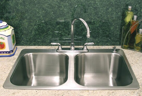 """A-Line by Advance Tabco 33.5"""" L X 21"""" W Double Bowl Drop-In Kitchen Sink"""