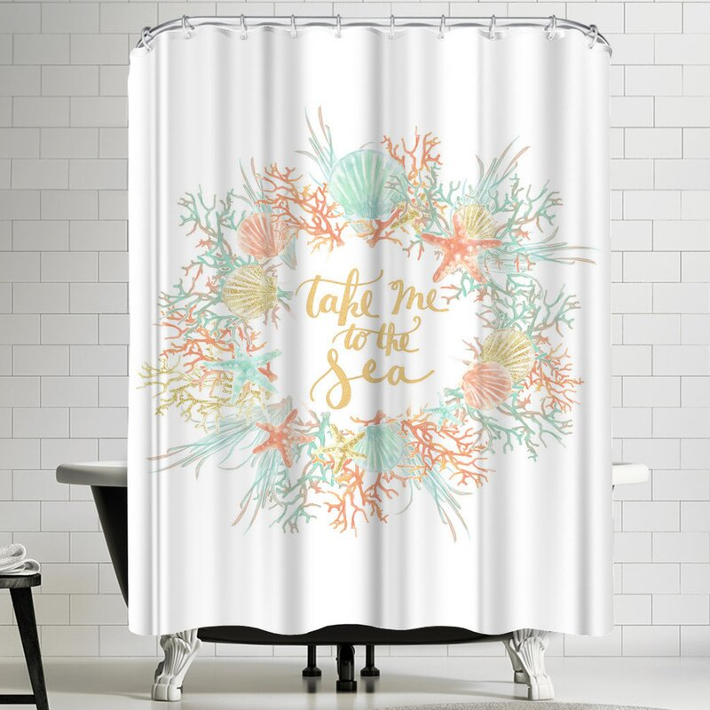 Jetty Printables Take Me To The Sea Coastal Shower Curtain