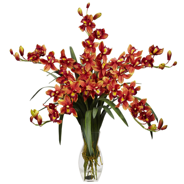 Nearly Natural Cymbidium Orchid Silk Flower Arrangement Reviews