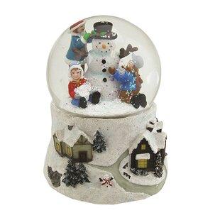 Snowman And Children Musical Christmas Snowglobe