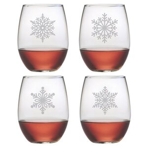 Paper Snowflakes 21 oz. Stemless Wine Glass