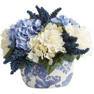 Hydrangeas youll love wayfair faux hydrangea heather centerpiece in chinoiserie mightylinksfo