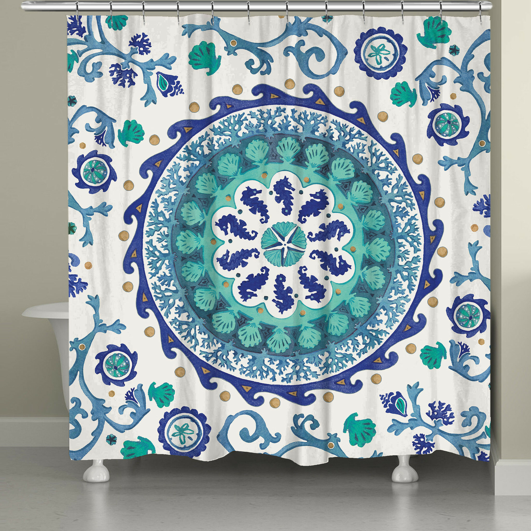 Rosecliff Heights Balfour Coastal Medallion Shower Curtain