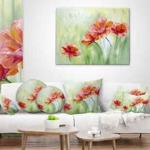 Floral Poppies Pillow