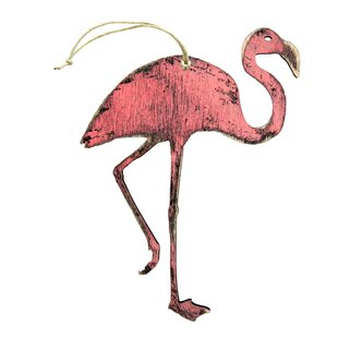 flamingo wooden ornament set set of 3