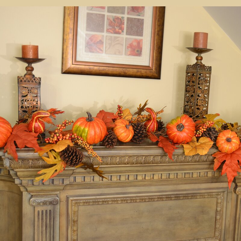 Floral Home Decor Deluxe Pumpkin Berry Fall Leaf Garland ...