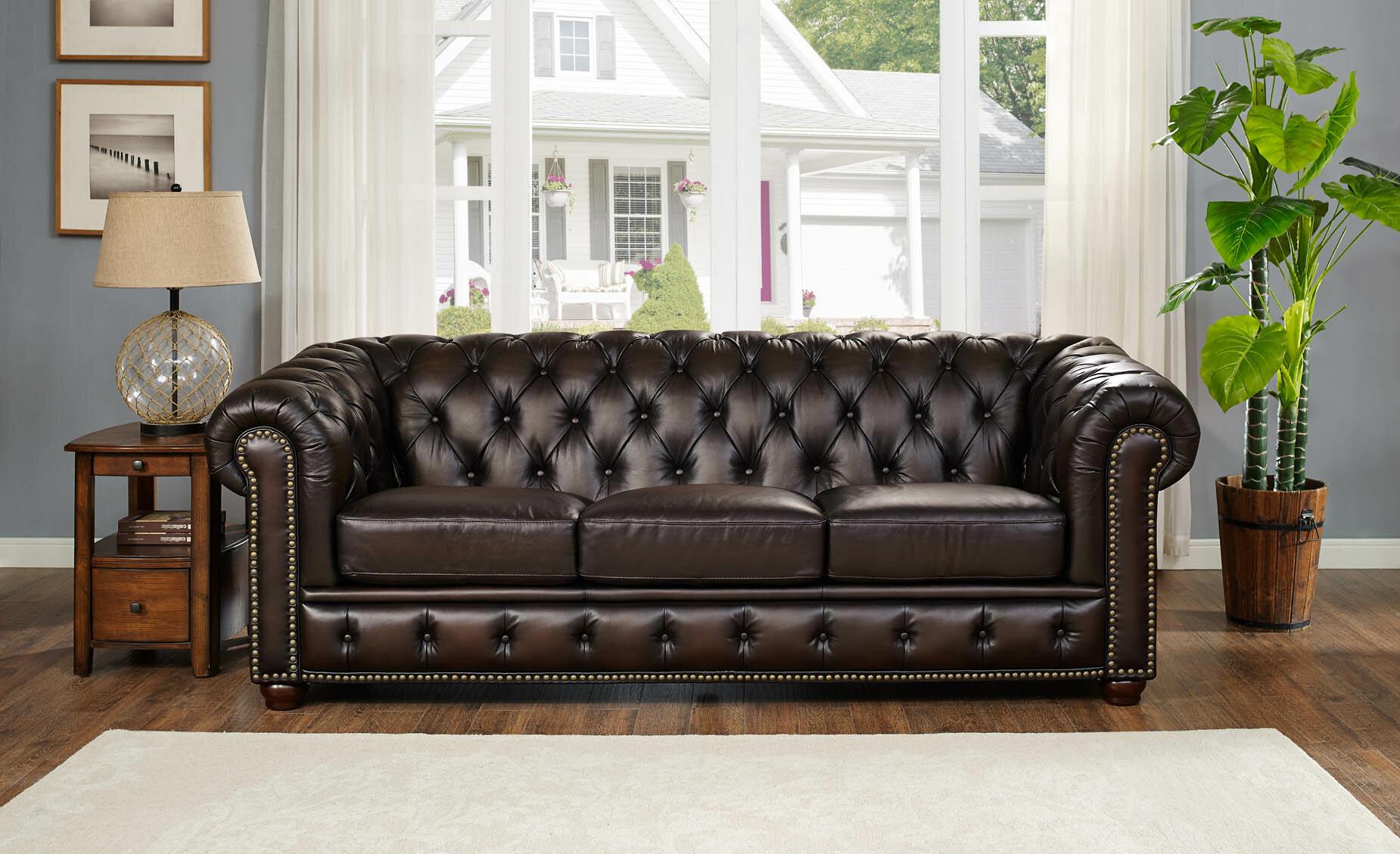 Fleur De Lis Living Katharine Top Grain Leather Sofa | Wayfair