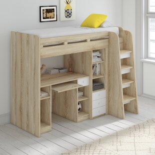 Levon Green Single High Sleeper Bed with Drawers and Shelves by Viv   Rae