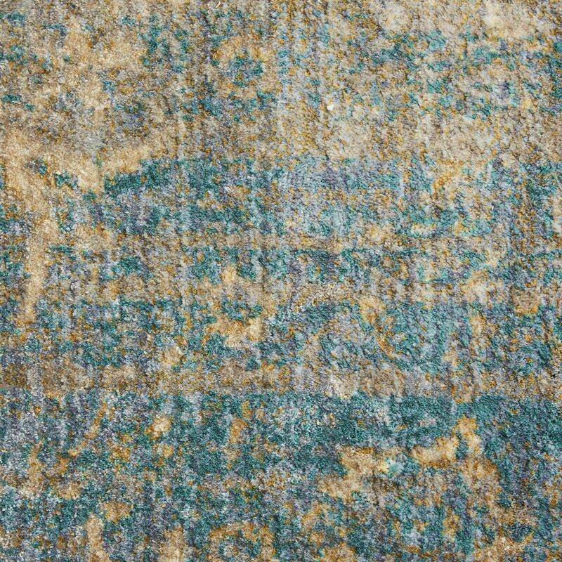Birch Lane Jonas Teal Blue Mustard Beige Area Rug