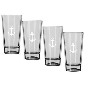kasualware designs anchor 16 oz pint glass set of 4