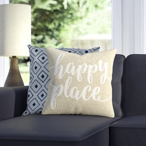 Bolte Happy Place 100% Cotton Throw Pillow