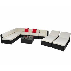 9 Piece Rattan Sectional Set with Cushions