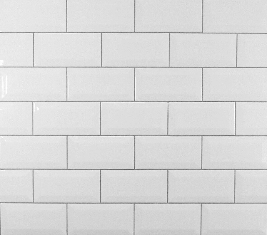 """Mulia Tile Classic 3"""" x 6"""" Beveled Ceramic Subway Tile in"""