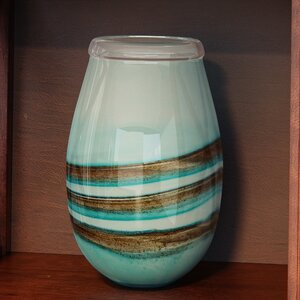 Blue/Brown Blown Glass Vase