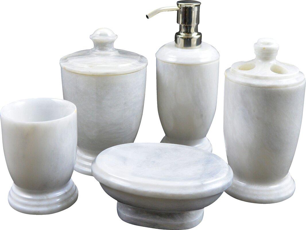 Nature Home Decor Atlantic Marble 5 Piece Bathroom Accessory Set Reviews Wayfair