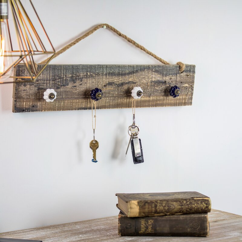 August Grove Rustic Wood Hanging Jewelry Necklace Wall ...