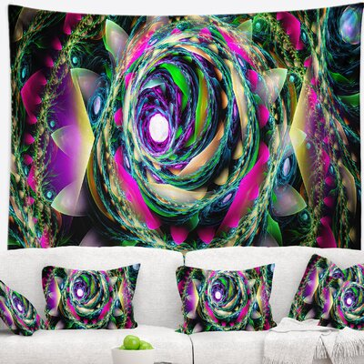 Floral Colorful Exotic Whirlpool Flower Tapestry East Urban Home Size: 50 H x 60 W