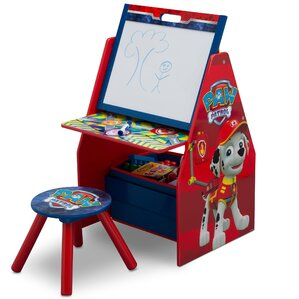 Nick Jr. Paw Patrol Activity Center Easel Art Desk with Stool and Toy Organizer by Delta Children