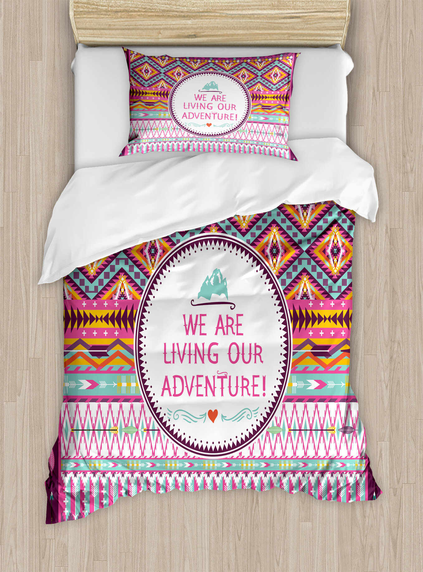 East Urban Home Ethnic Tribal Striped Geometric Design With A Quote