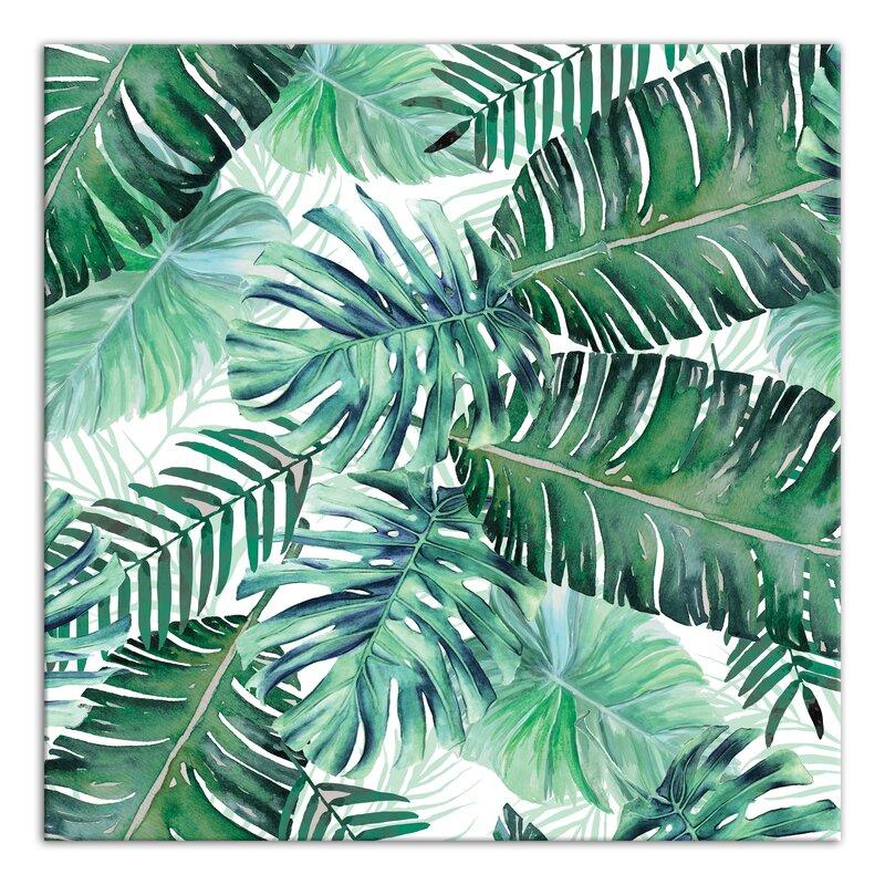 green palm leaves graphic art print on canvas joss main