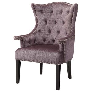 Fifth Avenue Eggplant Velvet Wingback Chair With Nailhead Trim