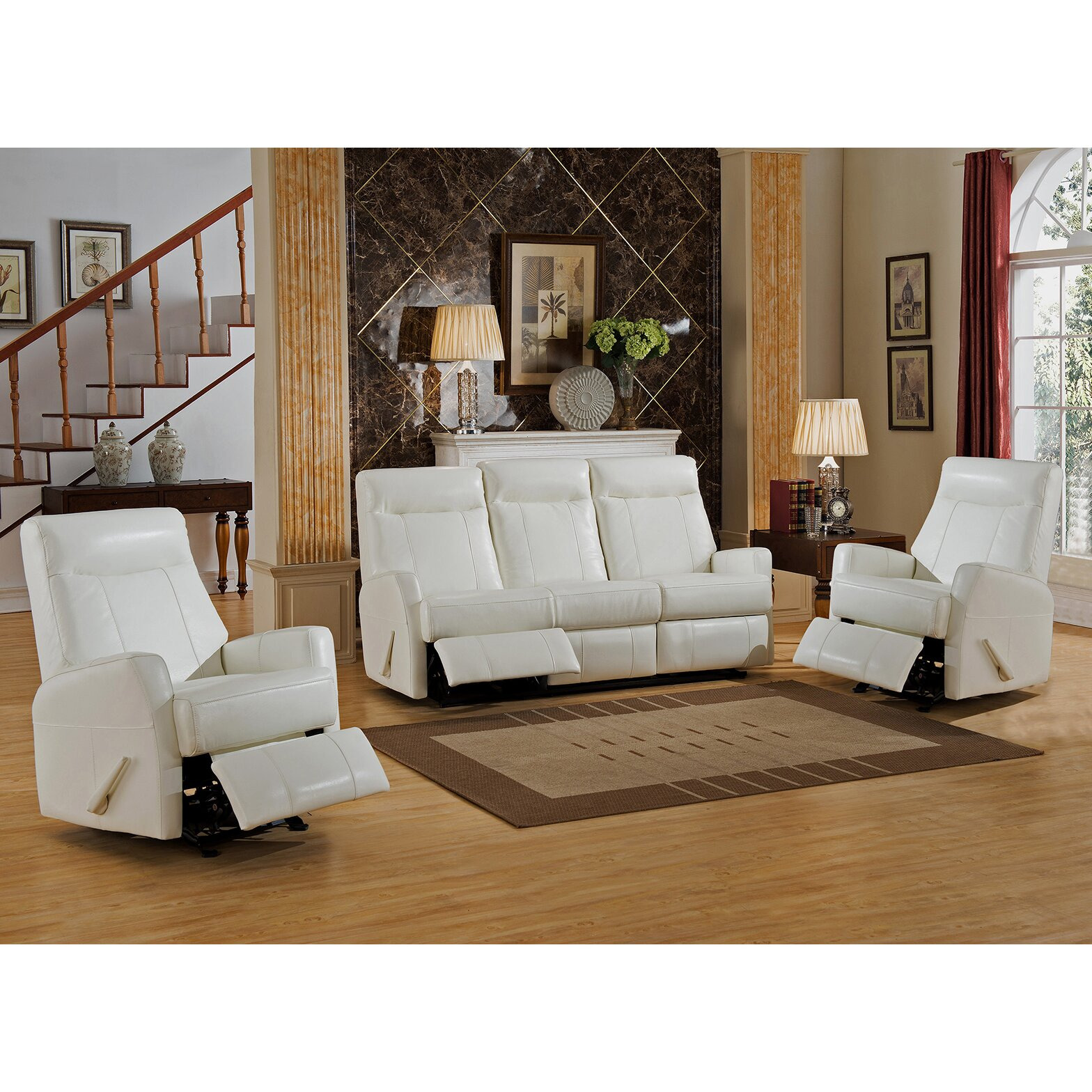 Amax toledo 3 piece leather living room set wayfair for Living room 3 piece sets