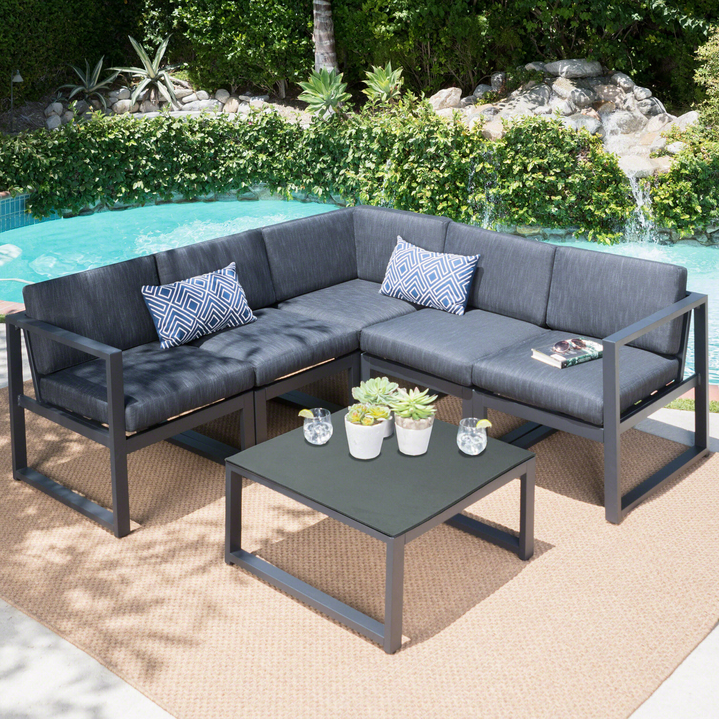 cushions patio p piece beige with tacana hampton sale conversation sectional bay set wicker st sets