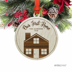 our first home shaped ornament with gift bag