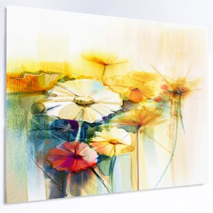 Yellow flower painting wayfair bunch of white yellow flowers painting print on metal mightylinksfo