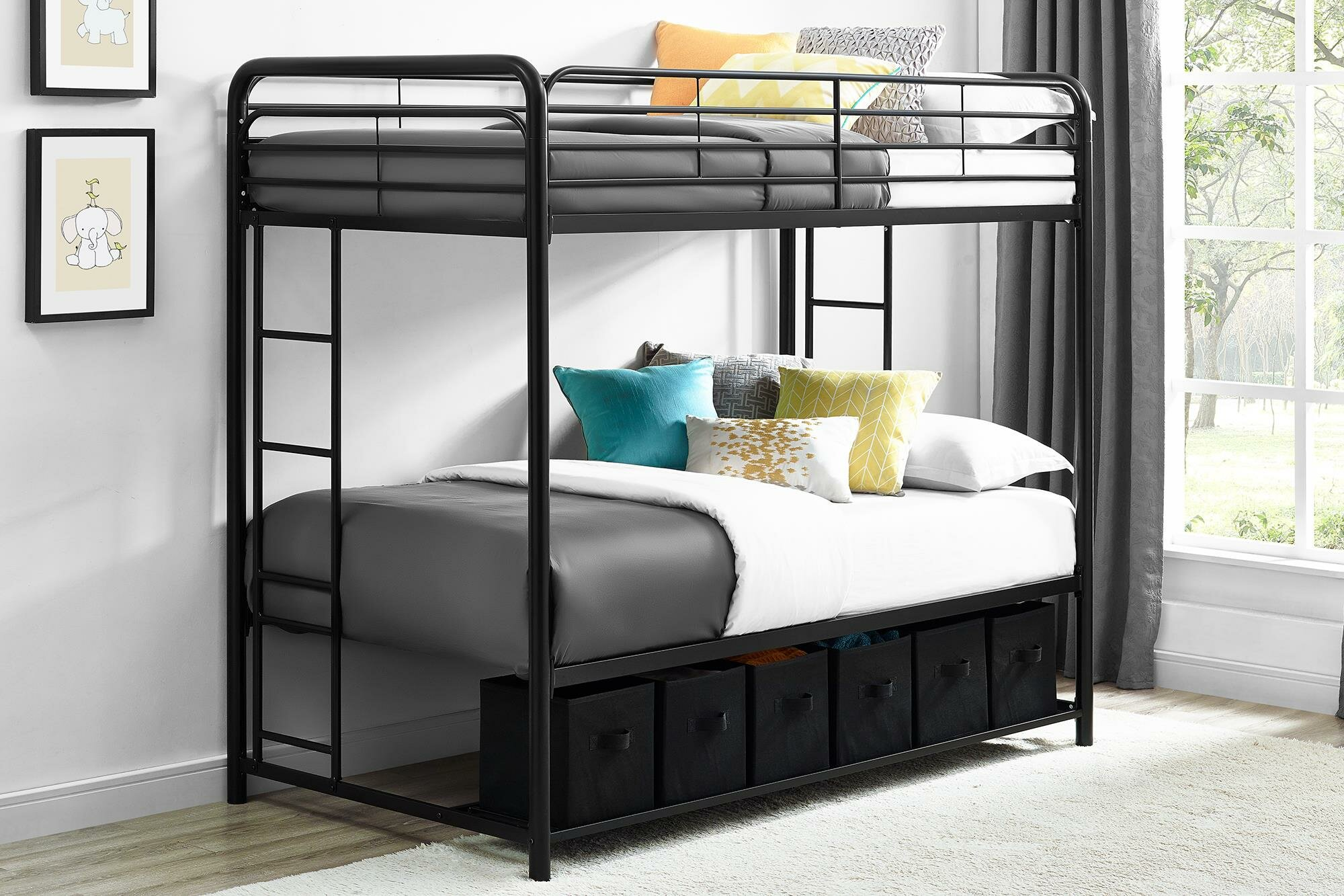 Harriet Bee Brogdon Twin Over Twin Bunk Bed With Storage