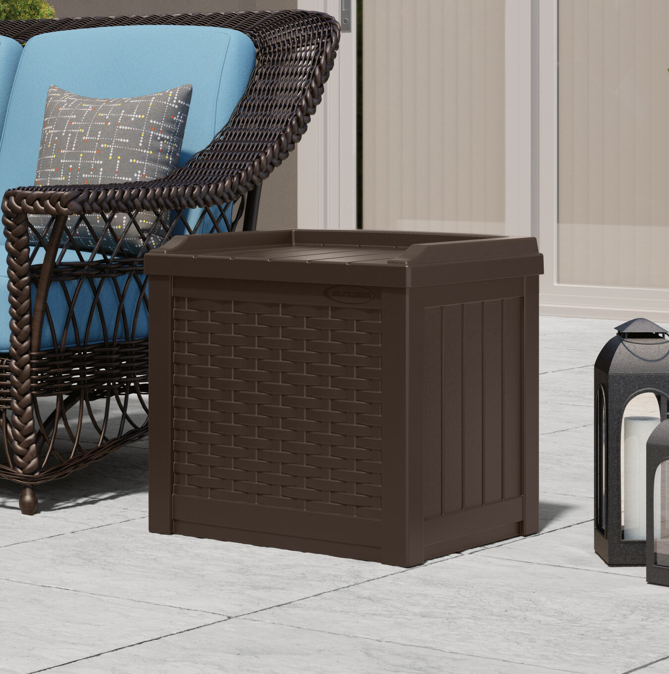Admirable Suncast Wicker 22 Gallon Resin Plastic Storage Bench Ibusinesslaw Wood Chair Design Ideas Ibusinesslaworg