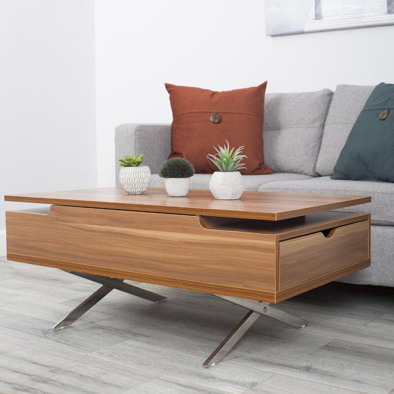 wrought studio denson melamine veneer wood hidden storage lift top coffee table reviews wayfair. Black Bedroom Furniture Sets. Home Design Ideas