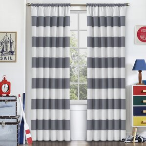 Jameson Striped Blackout Thermal Rod Pocket Single Curtain Panel  Grey Striped Curtains